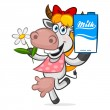 Cheerful cow holding carton of milk — Imagen vectorial