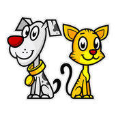 Smiling Dog and Cat — Stock Vector