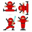 Ninja in different poses — Stock Vector