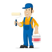 Painter holds roller and bucket — Stock Vector