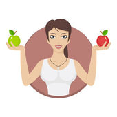 Girl in circle holds apples — Stock Vector
