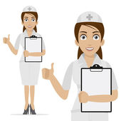 Nurse holds form and shows thumb up — Stock Vector