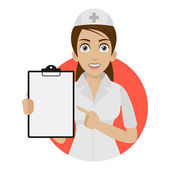 Nurse points to form in circle — Stock Vector