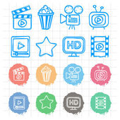 Icons set cinema doodles — Stock Vector
