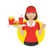 Girl holds tray with fast food — Stock Vector