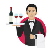 Waiter holds tray with wine and glasses — Stock Vector