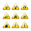 Icons warning signs of danger — Stock Vector
