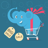 Elephant stands on shopping cart — Stock Vector
