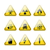Icons warning signs of danger — Wektor stockowy