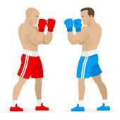 Boxers athletes stand in rack — Stock Vector