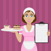 Girl holds tray with dessert and menu — Vector de stock