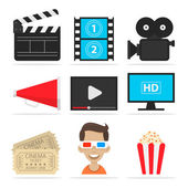 Icons set cinema — Stock Vector