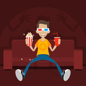 Teenager sits on sofa in 3D glasses — Stock Vector