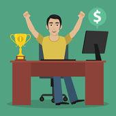 Man winner sits at table — Stock Vector