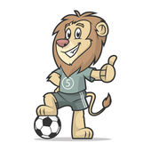 Lion footballer showing thumb up — Stock Vector