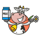 Emblem cow holds flower and packaging milk — Stock Vector