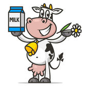 Cheerful cow holds flower and packaging milk — Stock Vector