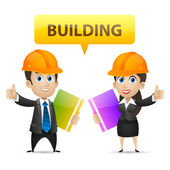 Builders man and woman showing thumbs up — Stock Vector