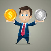 Businessman offers purchase gold and silver — Stock Vector