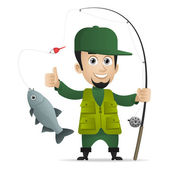 Concept cheerful fisherman holds fishing rod — Stock Vector