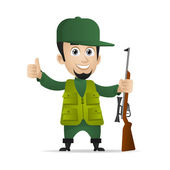 Hunter holds shotgun and showing thumbs up — Stock Vector