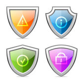 Set shields with identification signs — Stock Vector