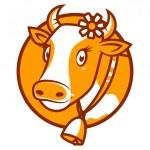 Good cow smiling emblem — Stock Vector #43963235