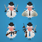 Set sheep gangster in different poses — Stock Vector