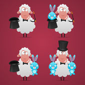 Set sheep magician in different poses — Stock Vector