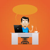 Man sitting at table and smiling — Stock Vector