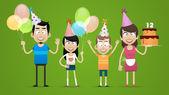 Happy family celebrates birthday — Stock Vector