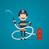 Fireman holds fire hose and smiling — Stock Vector