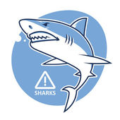 Evil shark warning sign — Vetorial Stock