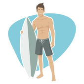 Young guy surfer holds surfboard — Stock Vector
