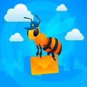 City bee postman holds letter — Stock Vector