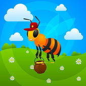 Summer bee holds jar with honey — Stock Vector