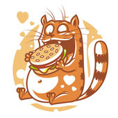Cat eating big hamburger — Stock Vector