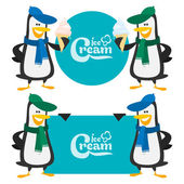 Concept penguins and ice cream — Vector de stock
