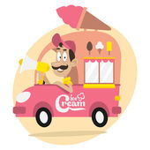 Ice cream truck and driver with loudspeaker — Stock Vector