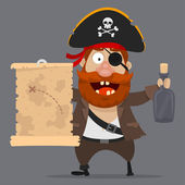 Character pirate holds card and bottle — Stock Vector