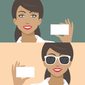 Woman smiling and holds business card — Stock Vector