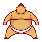 Sumo wrestler in rack — Vector de stock