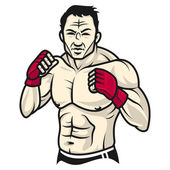 Man fighter stands in rack and gloved — Stock Vector
