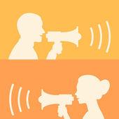Woman and man says in loudspeaker — Stock Vector