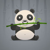 Cute panda gnaws bamboo — Vector de stock