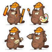 Beaver designer painter engineer builder — Stock Vector