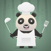 Panda chef holds soup ladle and shovel — Stock Vector