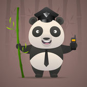 Panda policeman holds radiophone — Stock Vector