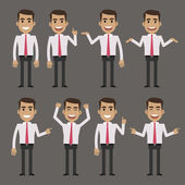 Businessman character in different poses — Stock Vector