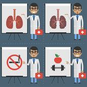 成人医生指示在活动挂图图表 — 图库矢量图片